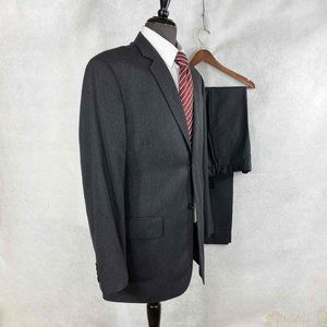 Calvin Klein striped polyester blend suit
